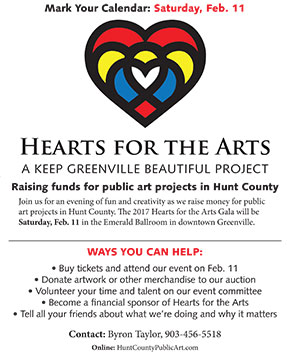 Click the image to download a flyer about Hearts for the Arts. Help us spread the word about it!